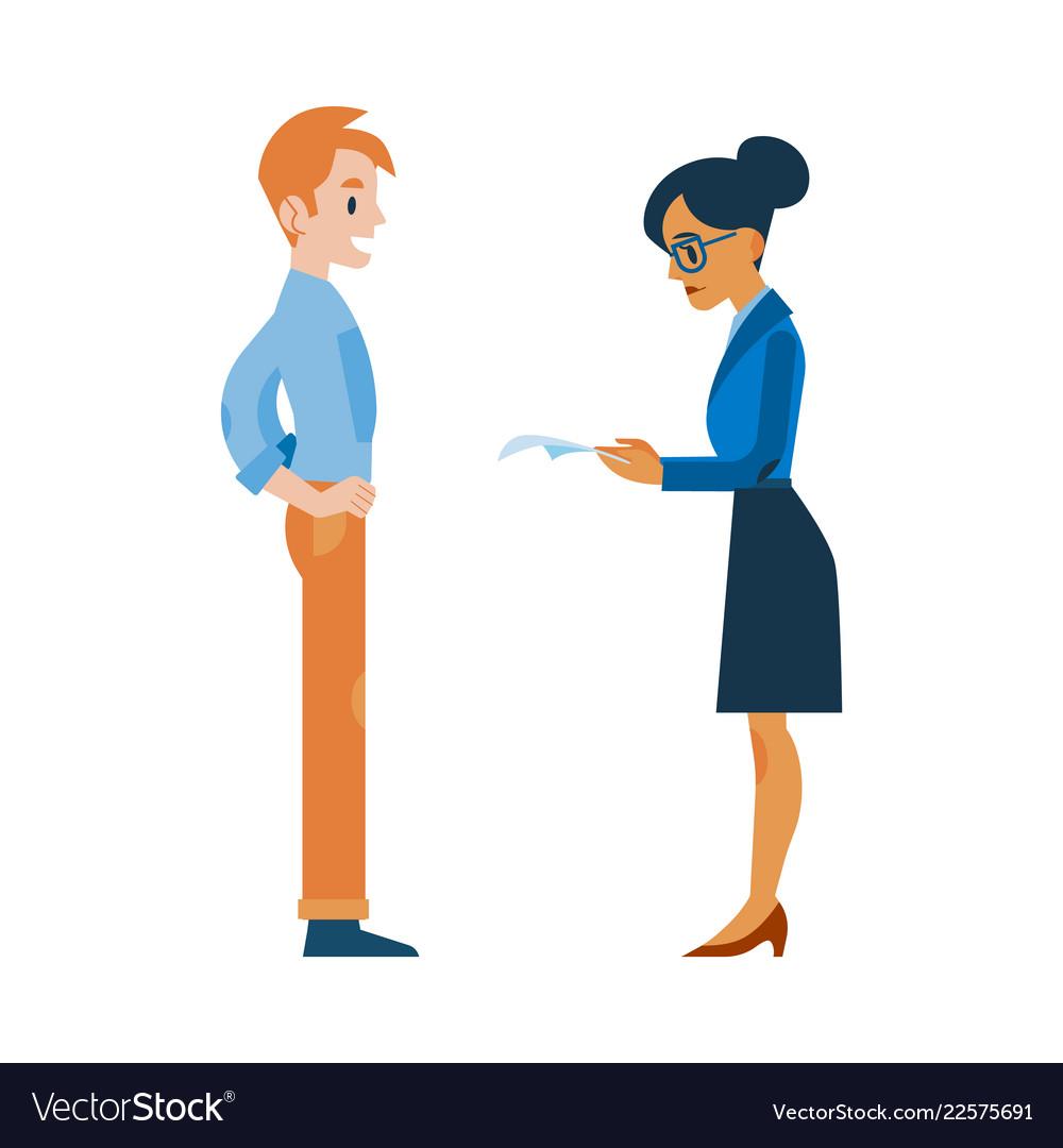 Flat woman reading applicant man resume