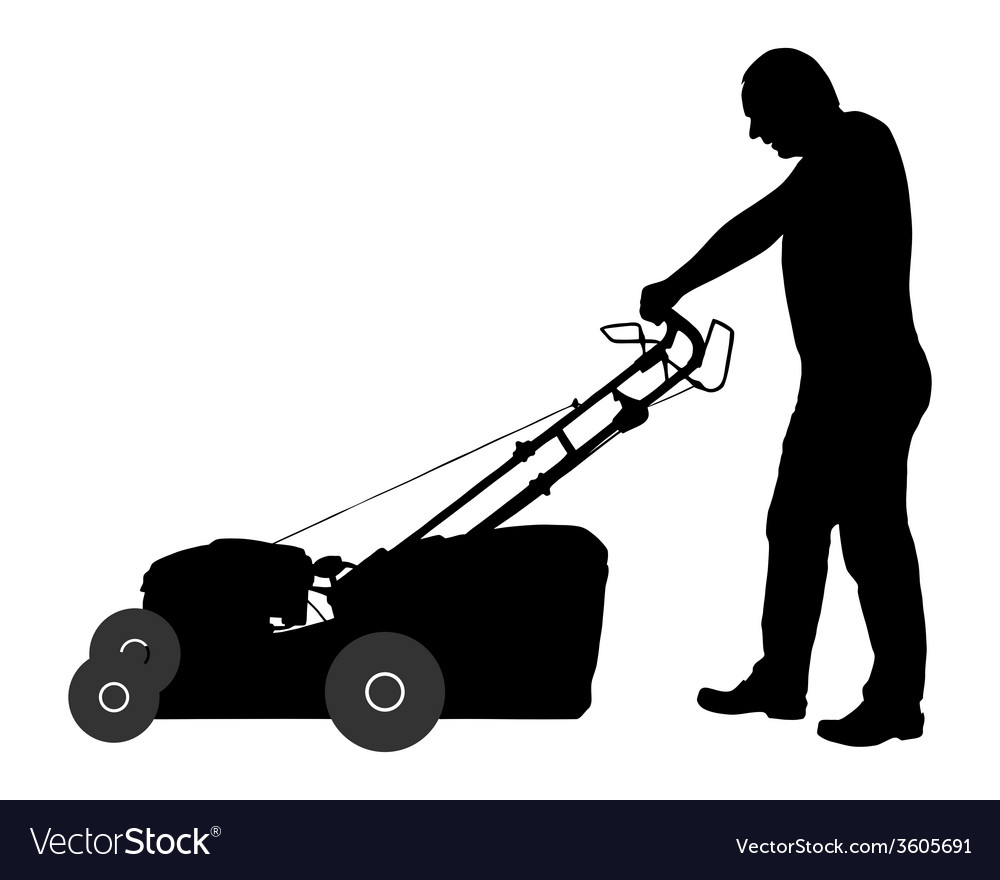 Man With Lawn Mower Royalty Free Vector Image Vectorstock