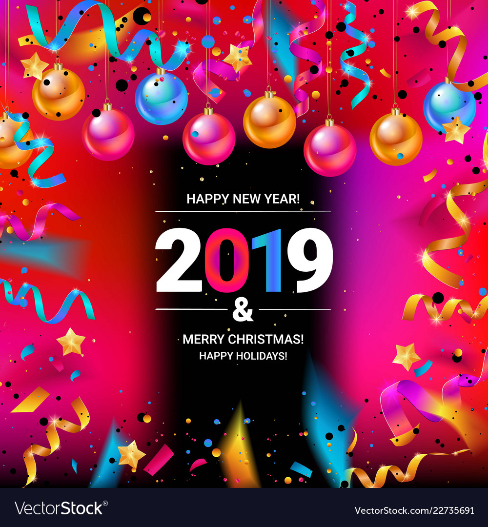 Merry christmas and happy new year 2019 Royalty Free Vector