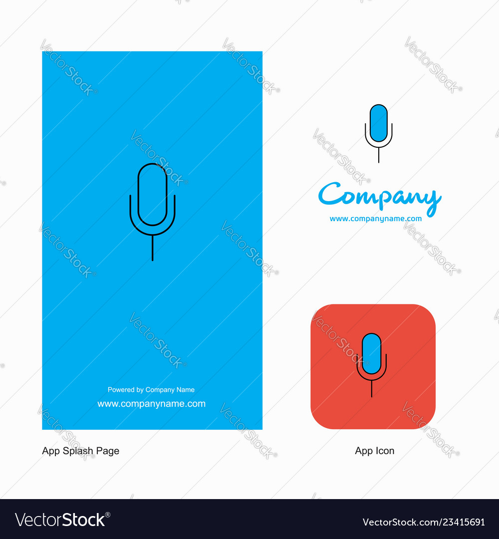 Microphone company logo app icon and splash page vector image on VectorStock