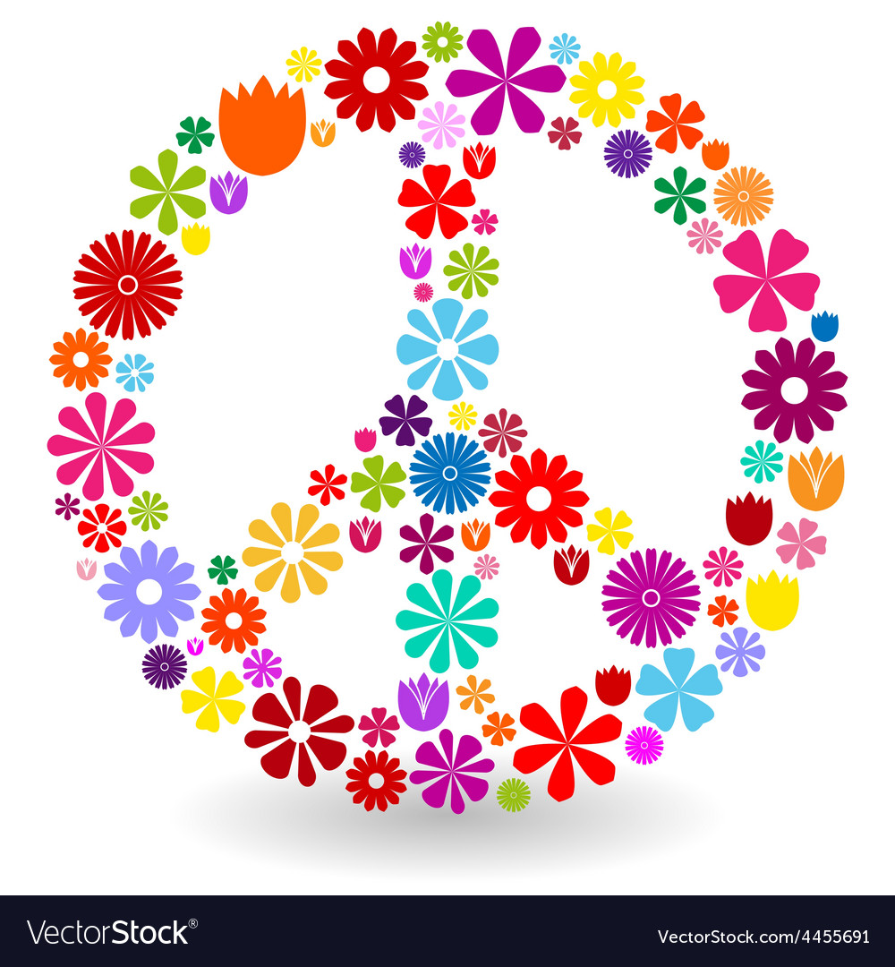 Peace Sign Made Of Flowers Vector Image On Vectorstock