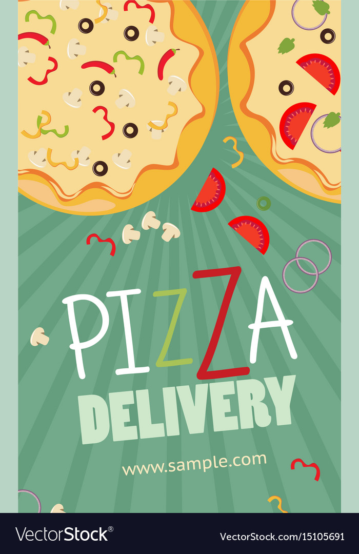 Pizza advertisement banner pizza delivery service vector image