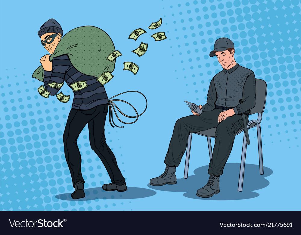 Pop art guard man sleeping thief stealing money