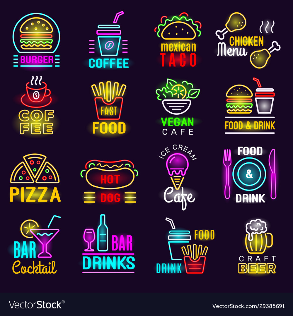 Products neon fast food lighting emblem