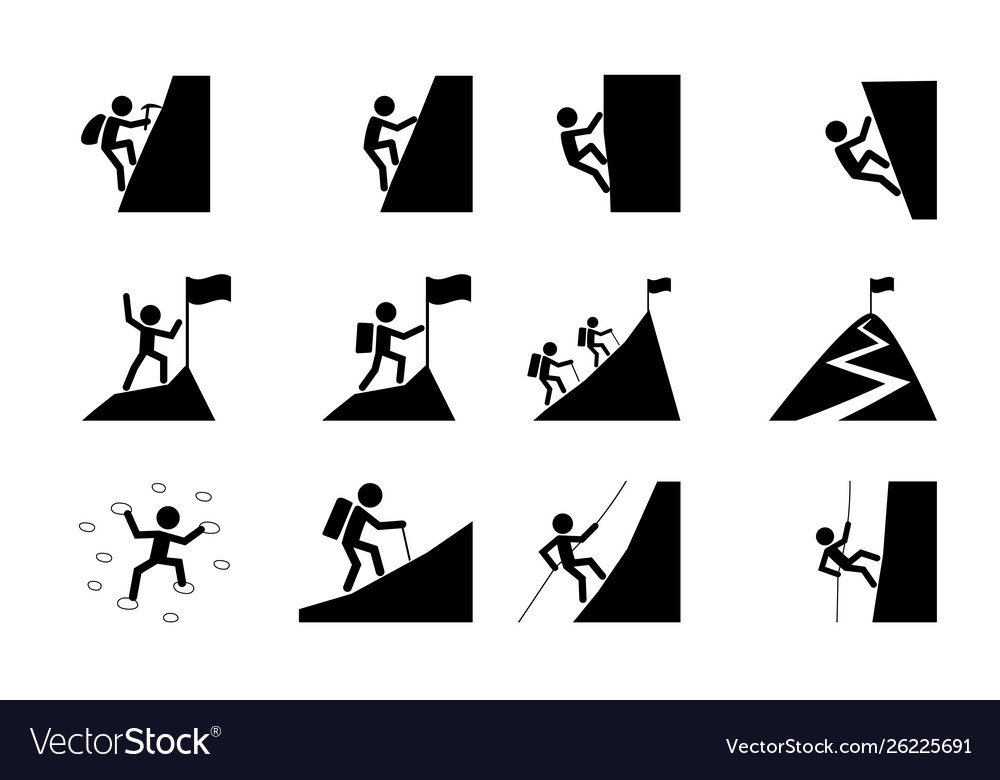 Set hiking and climbing icon art