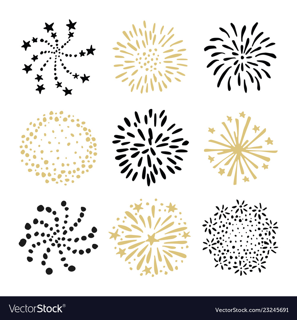 Set of hand drawn fireworks and sunbursts