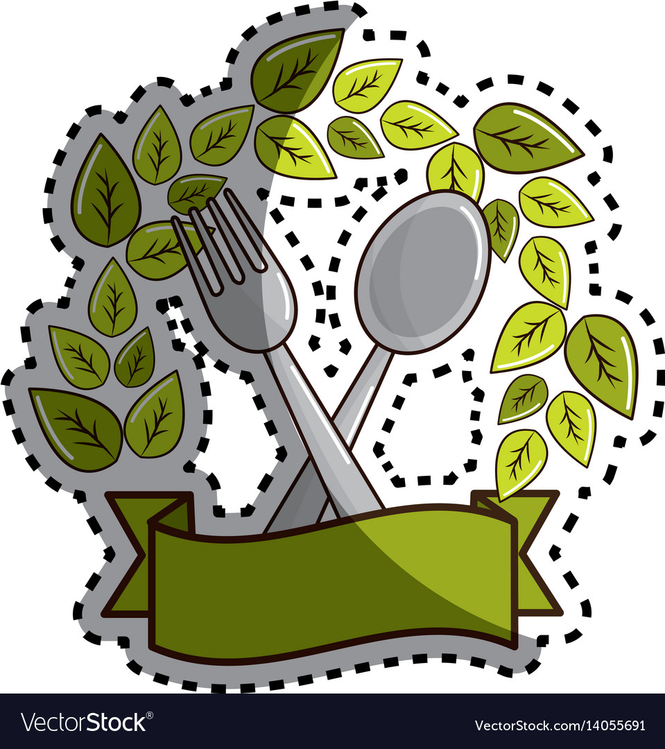 Sticker fork and spoon kitchen tools with leaves