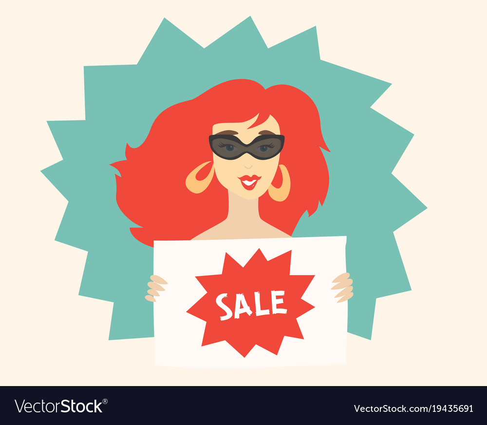 Woman holding a sign sale