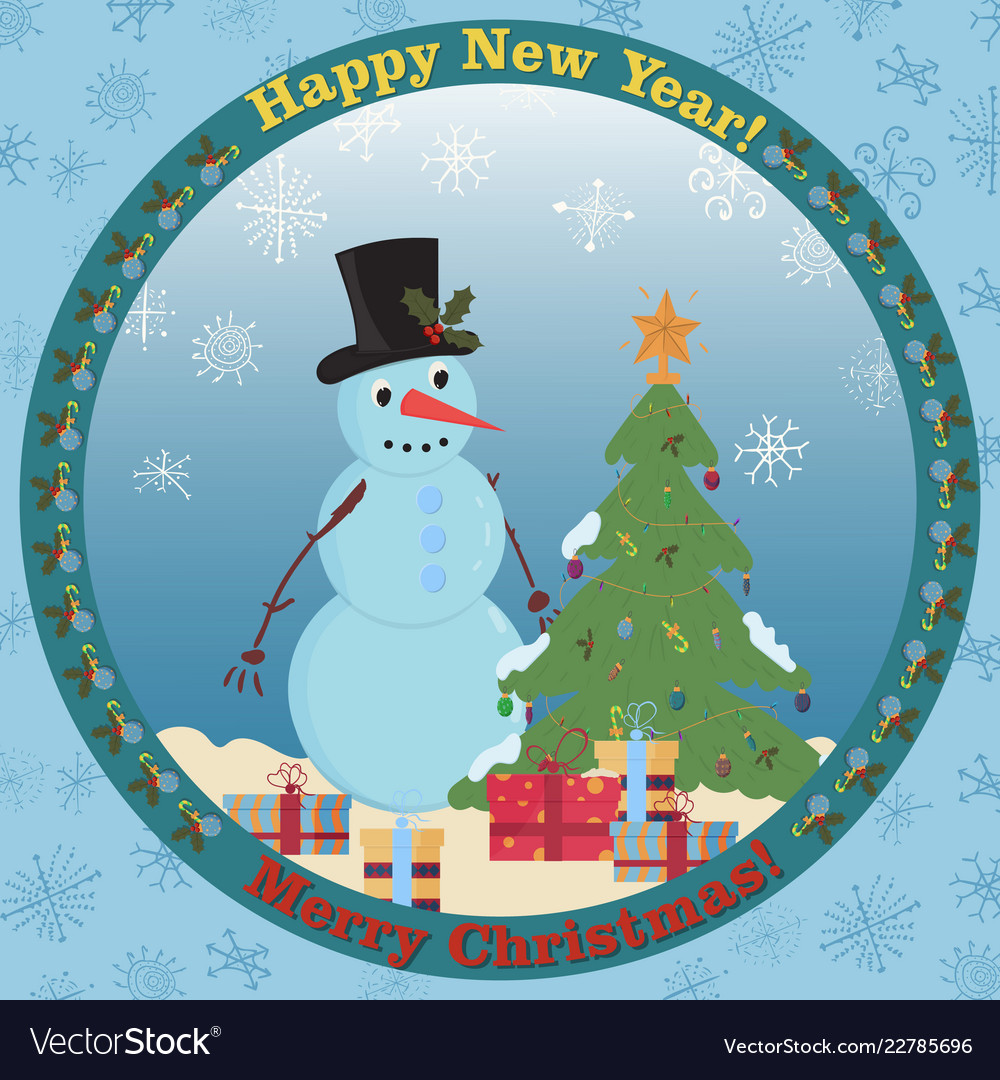 A snowman standing among gifts next to a Vector Image