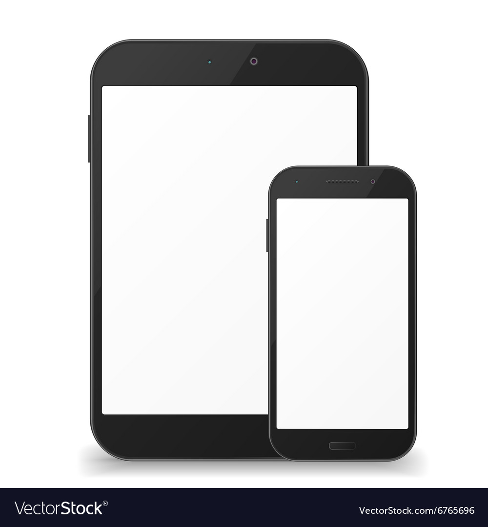 Black mobile phone and tablet with blank screen
