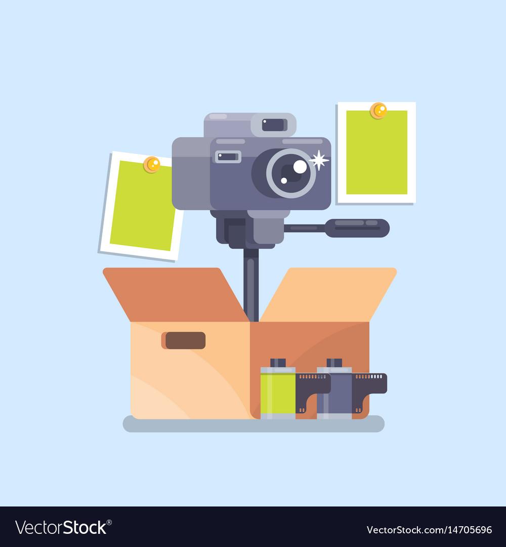 Camera equipment flat isolated