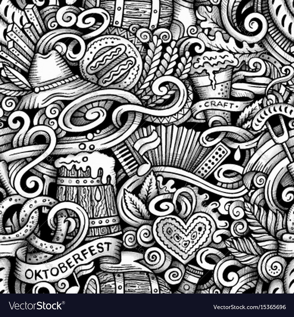 Cartoon hand-drawn doodles octoberfest seamless vector image