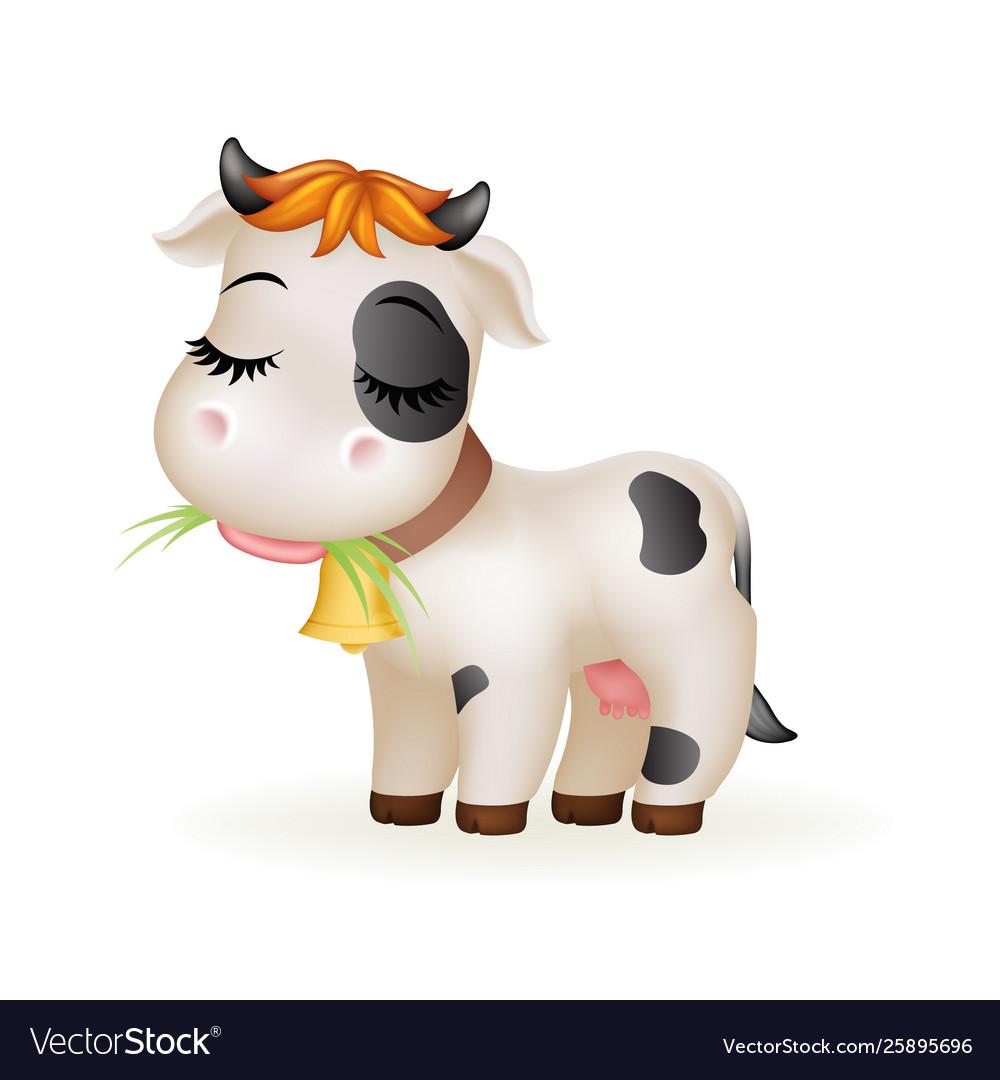 Farm little cartoon cute calf white cow standing
