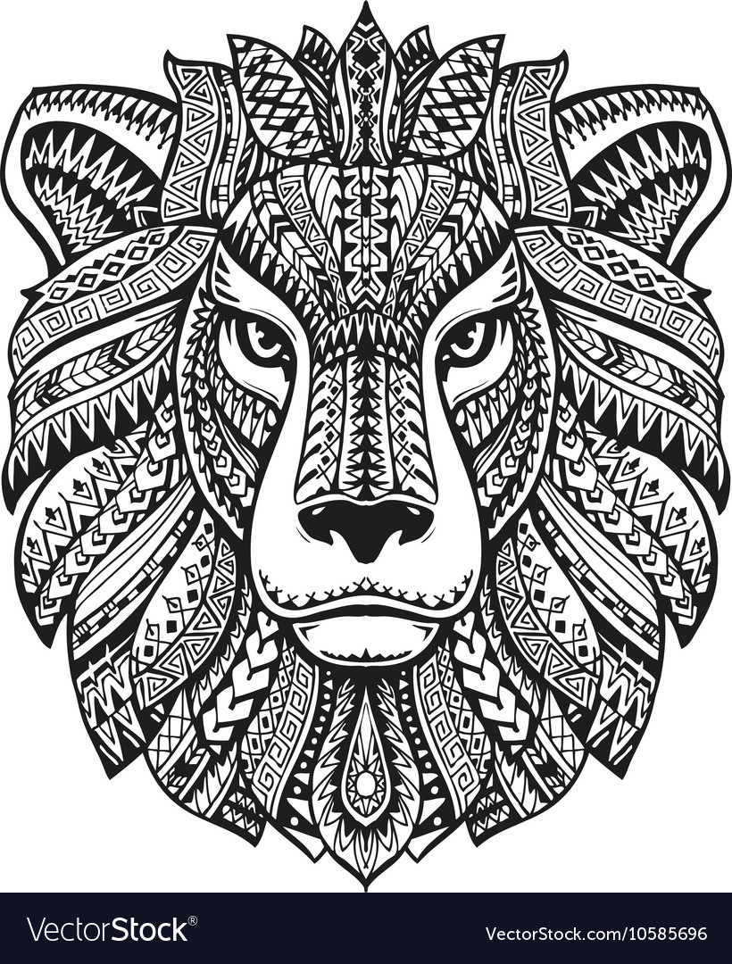 Head lion Ethnic patterns Hand drawn