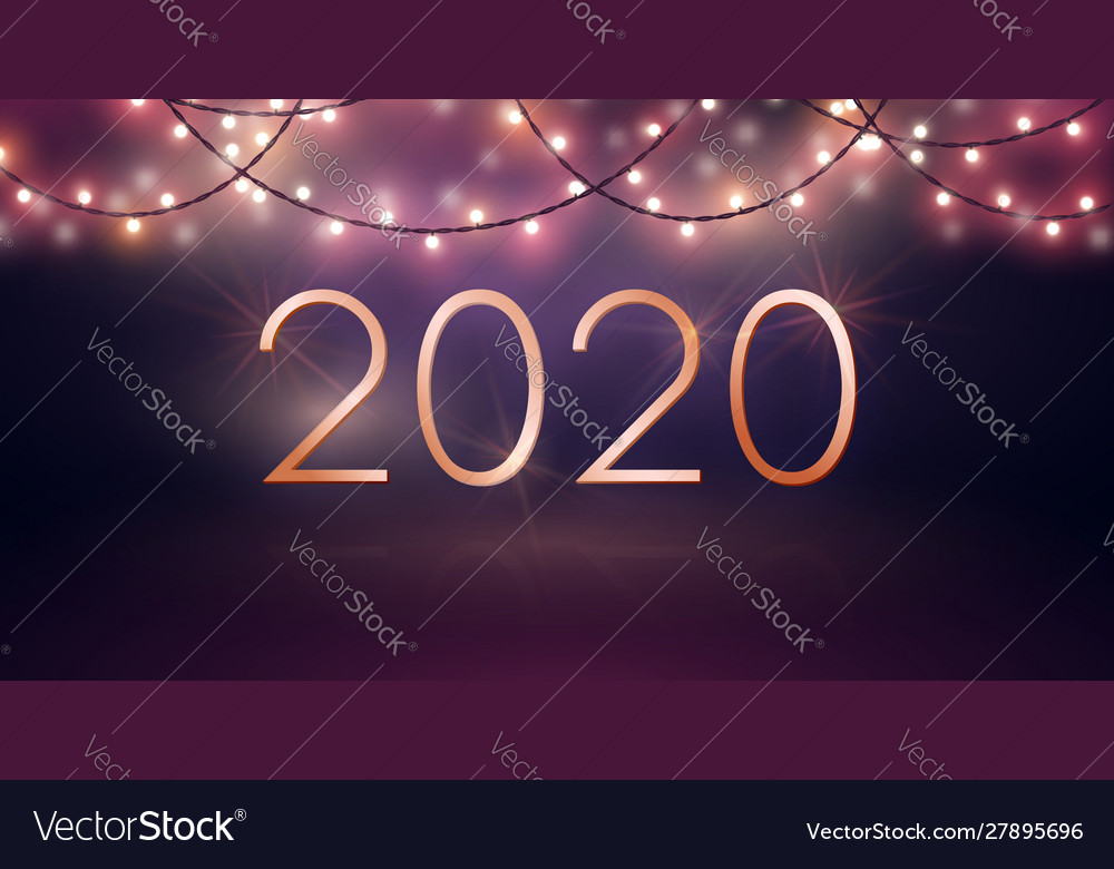 New year design with glowing light bulb garlands