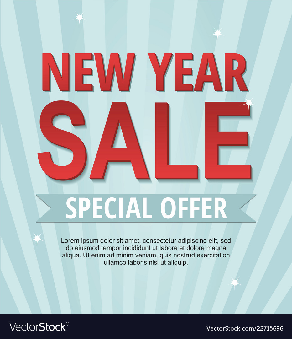 new year sale banner on blue background vector image