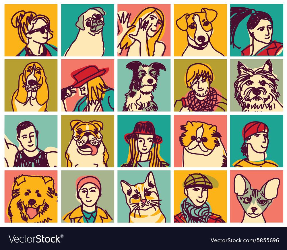 People and pets heads icons avatars set