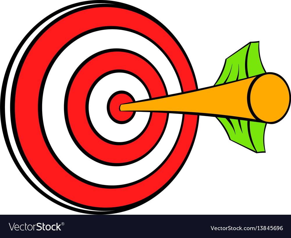 Target with arrow icon cartoon