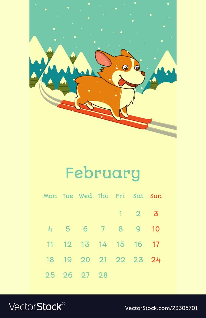 February 2019 Calendars Dog 2019 february calendar with welsh corgi dog skying