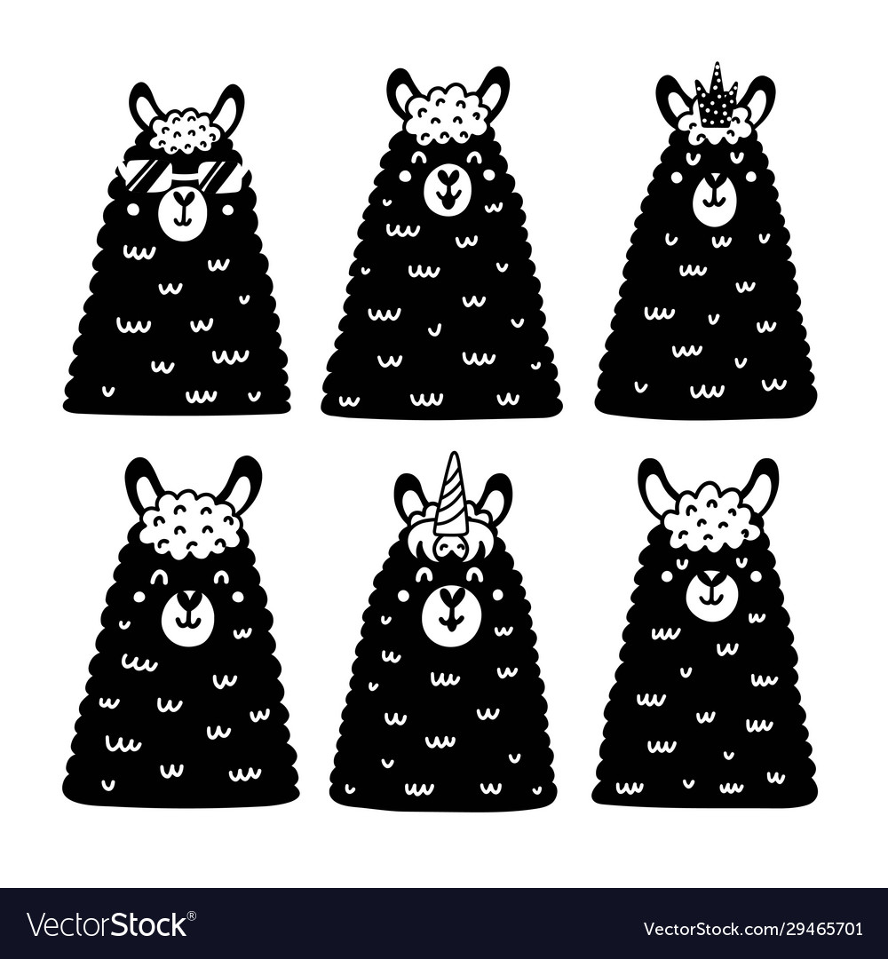 Black and white llamas collection cute alpacas