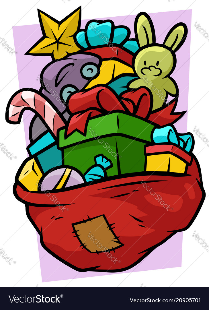 Cartoon red bag with gifts and toys