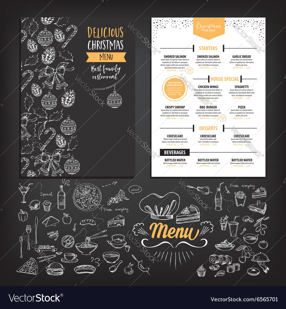 Christmas party invitation restaurant food flyer vector image stopboris Image collections