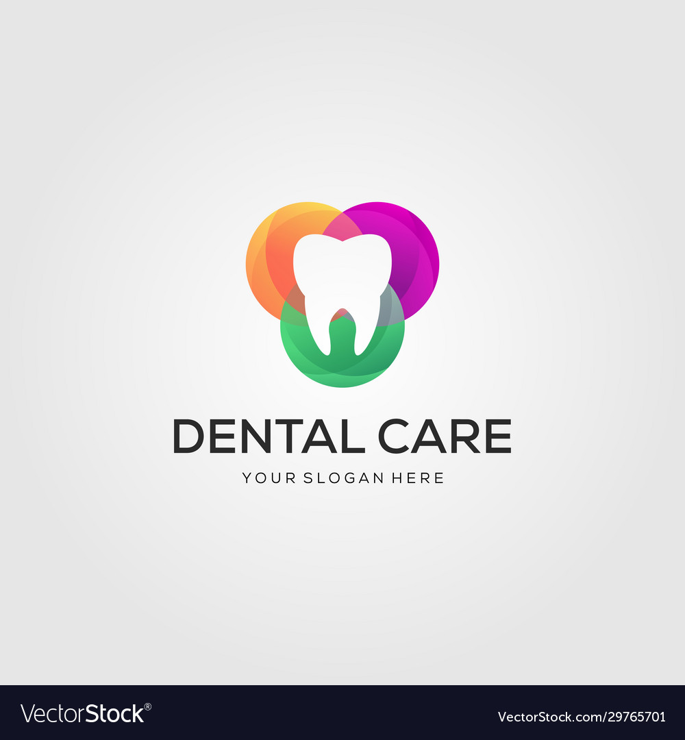 Colorful dental care or dentist logo designs in