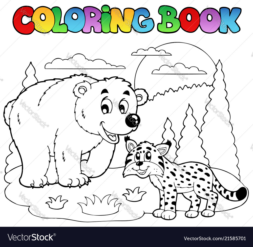 Coloring book with happy animals 4 Royalty Free Vector Image