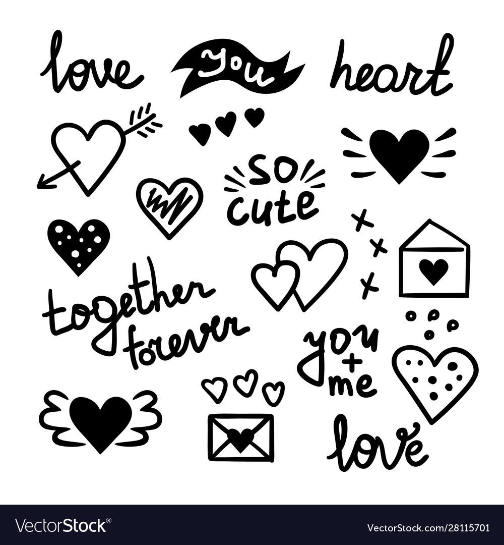 Doodle love elements