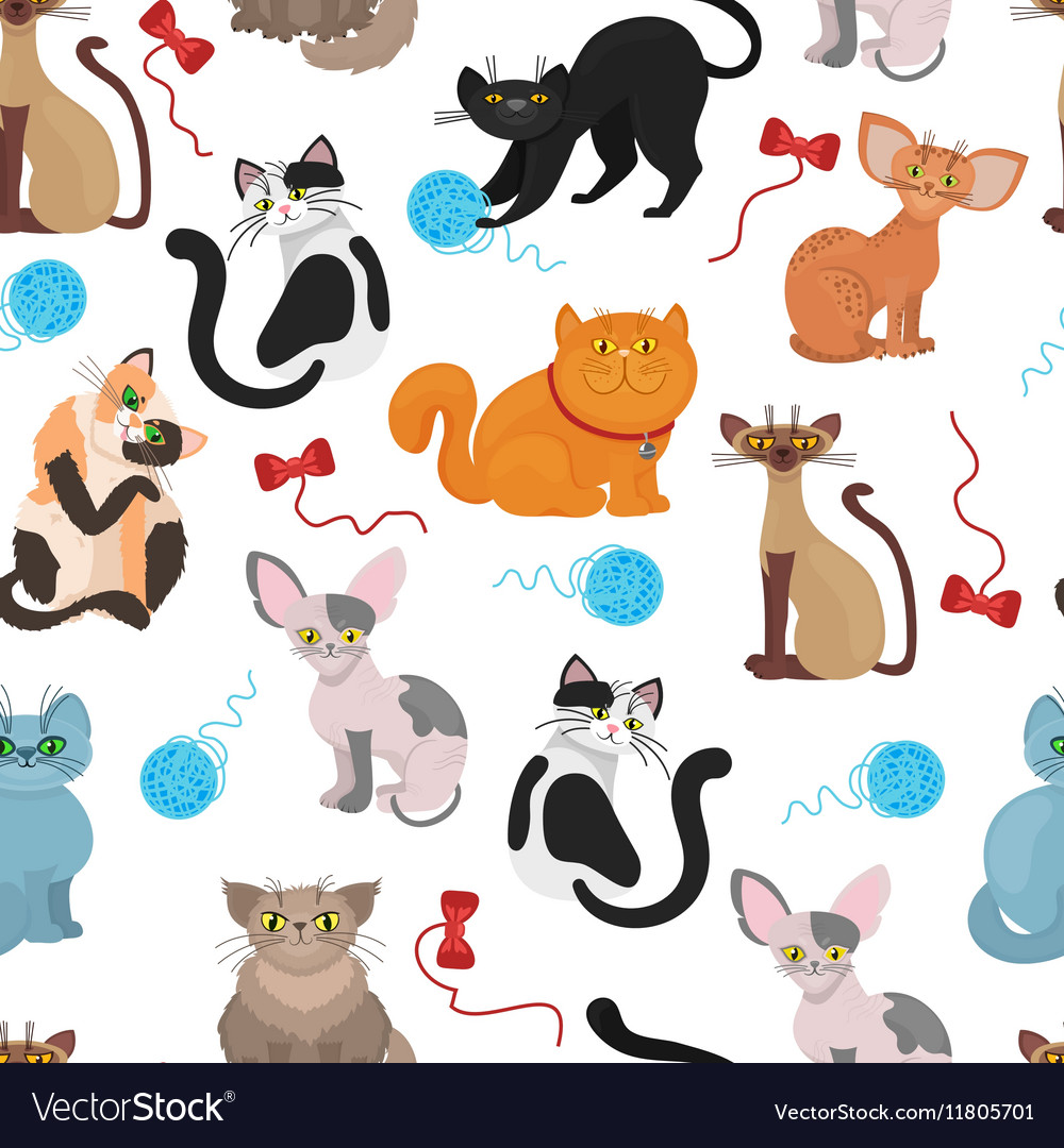 Fur cats pattern background