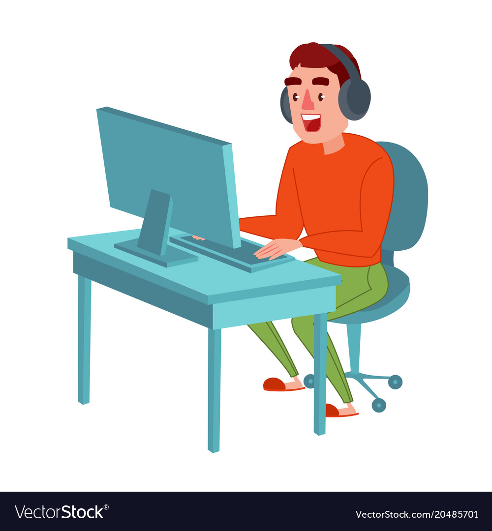 Happy Man With Headphones Playing Computer Game