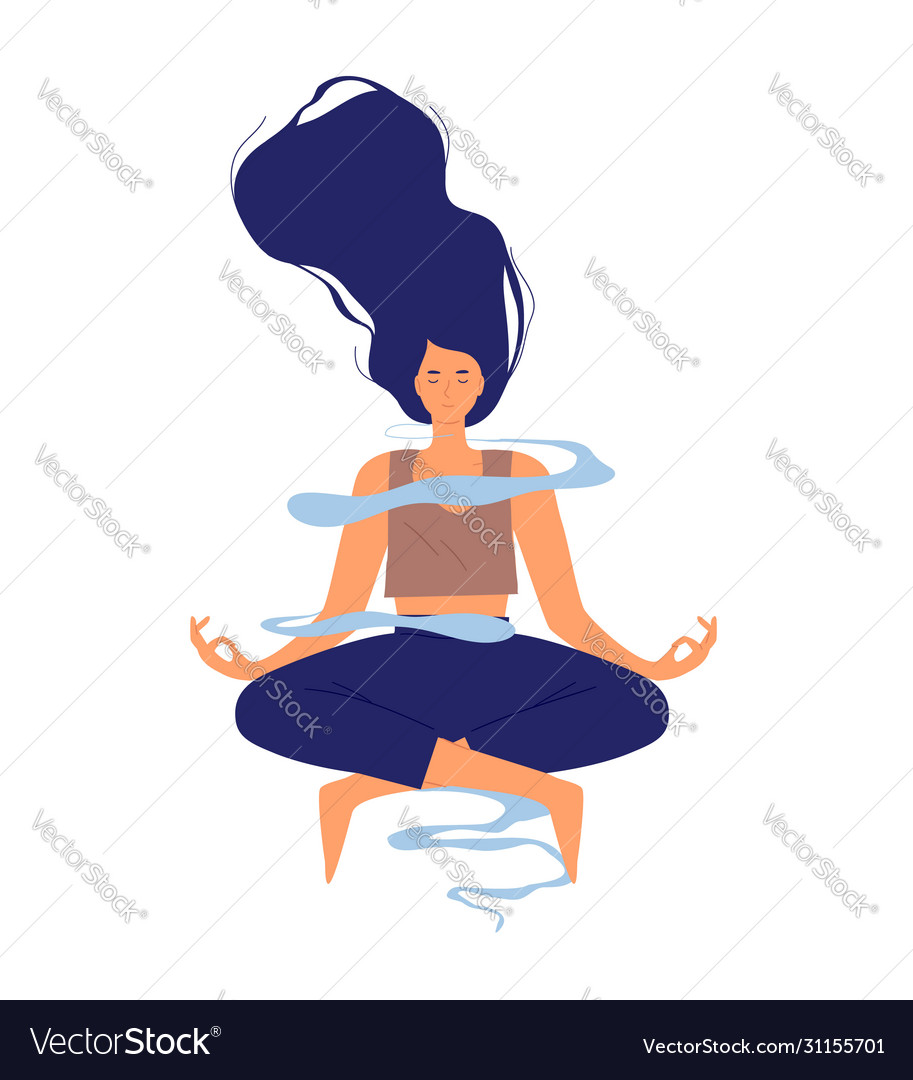 Happy young woman doing yoga meditation isolated