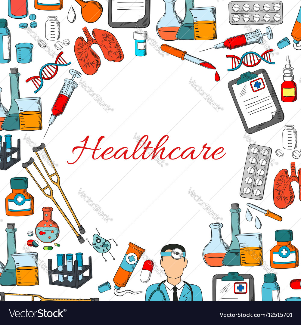 Healthcare poster of medicine items