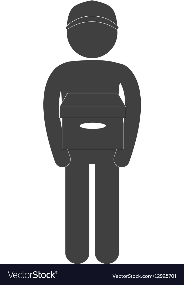 Man carrying delivery box figure pictogram