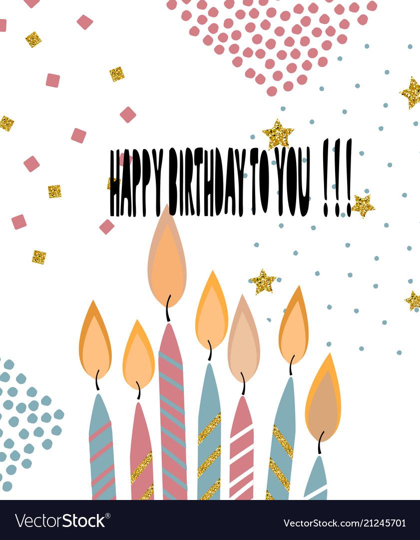 Modern happy birthday greeting card background vector image m4hsunfo