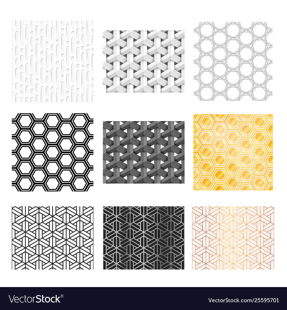 Nine different abstract geometric patterns