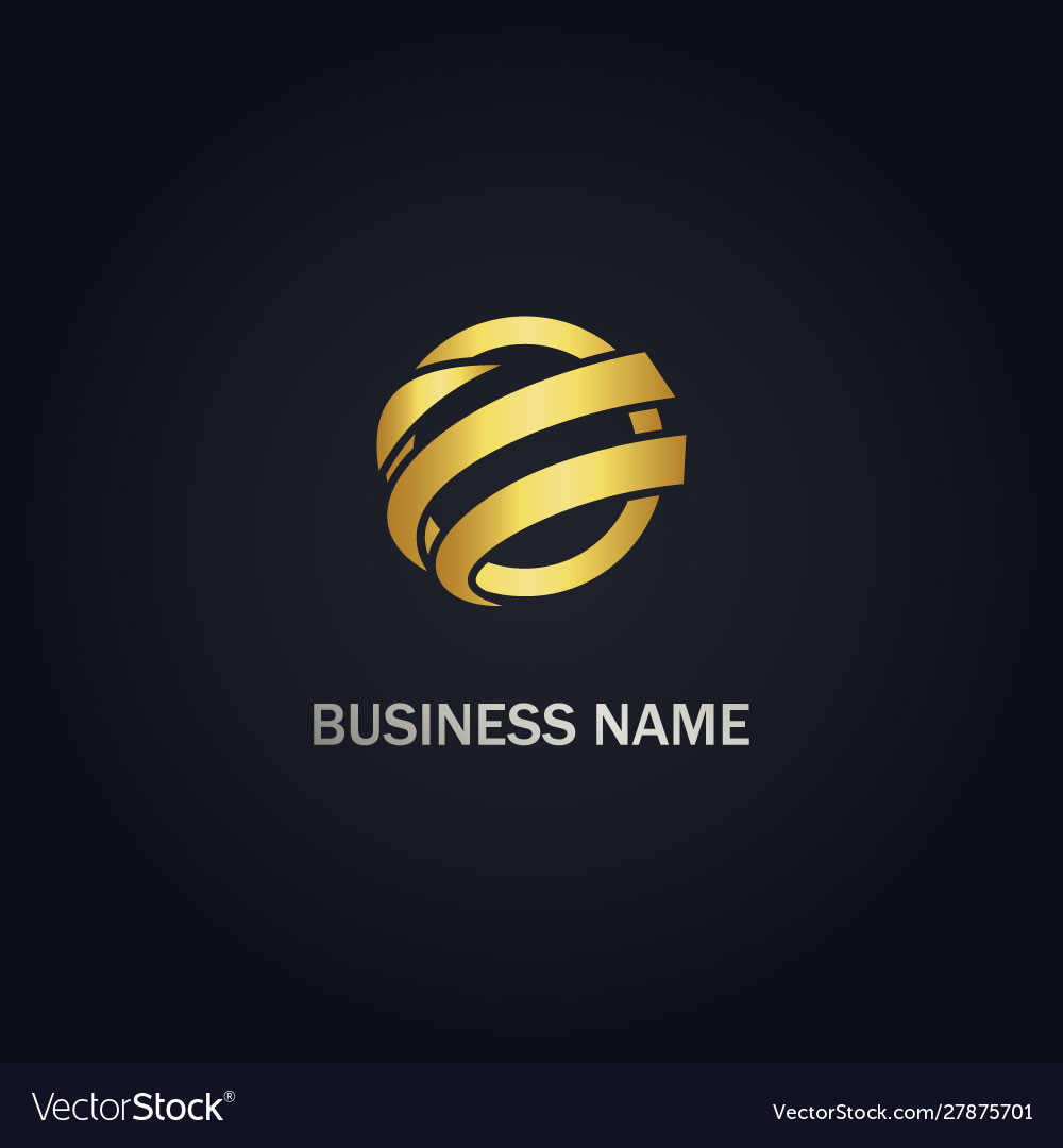 Round abstract sphere gold logo