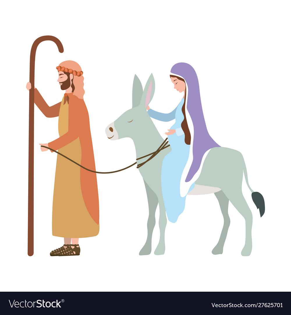 Virgin Mary Traveling With Joseph Cartoon Clipart Vector - FriendlyStock