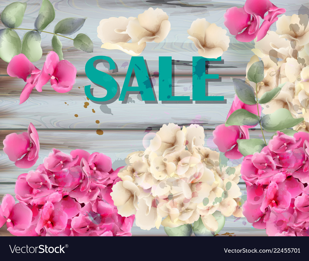 Sale banner with hydrangeas watercolor background