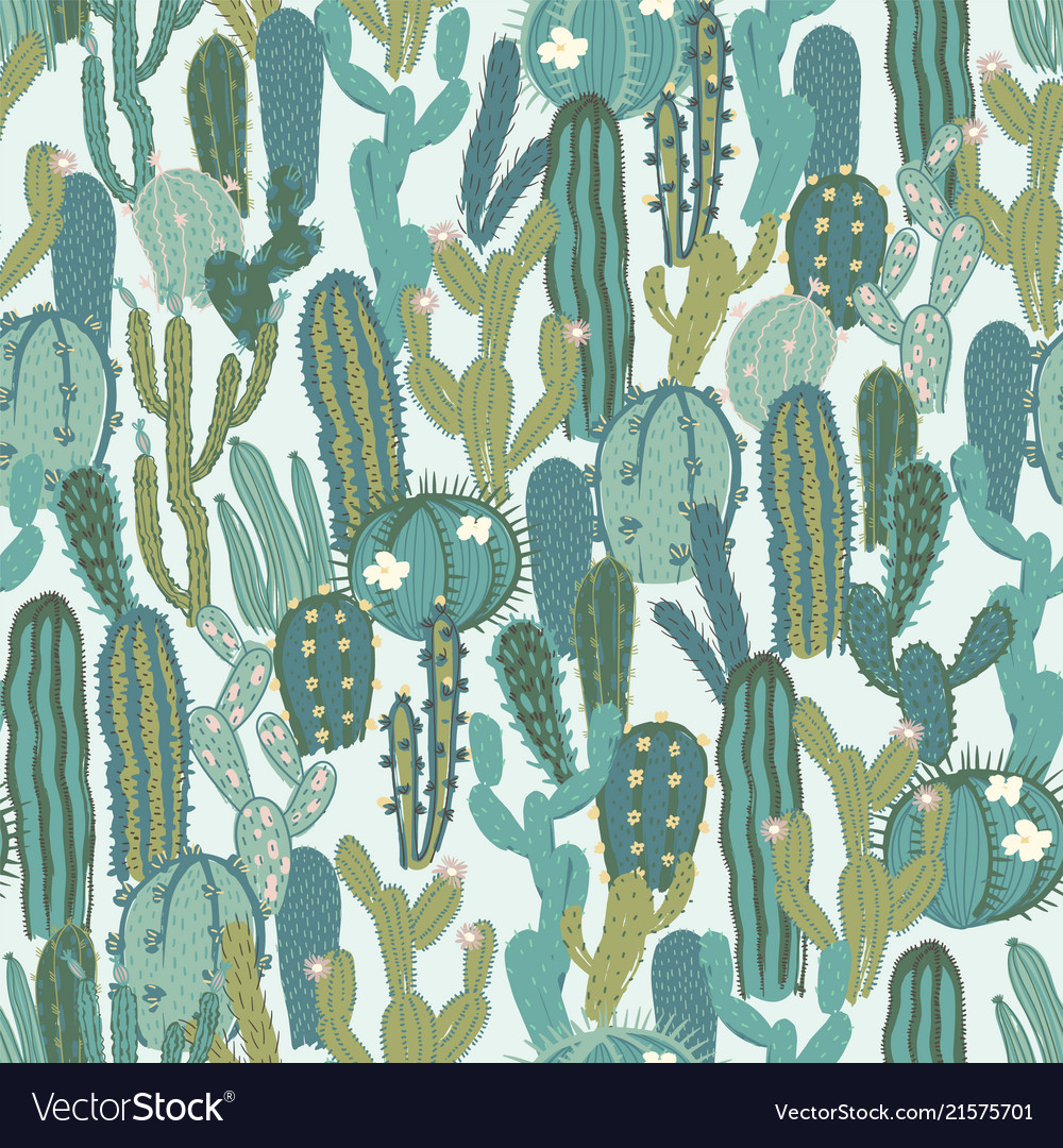 Seamless pattern with cactus repeated