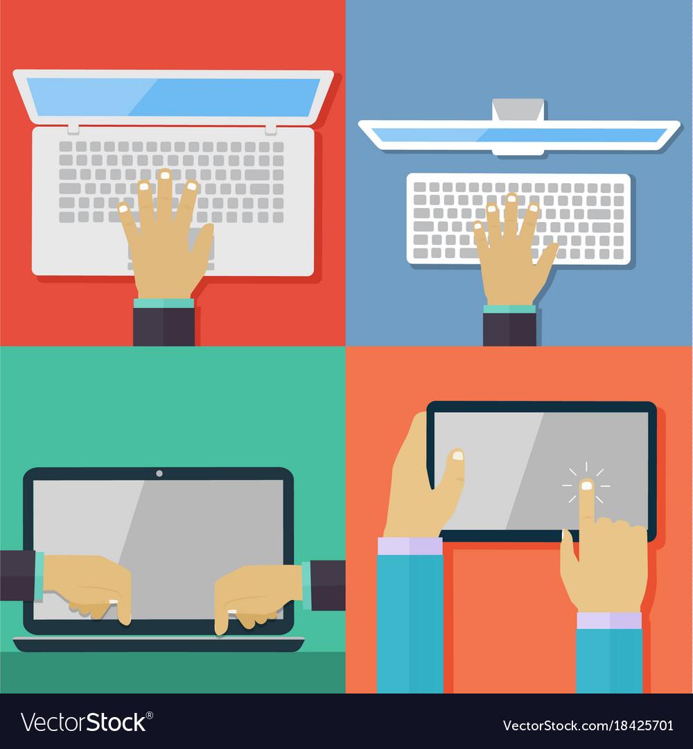Set of flat hand icons holding various hi-tech com