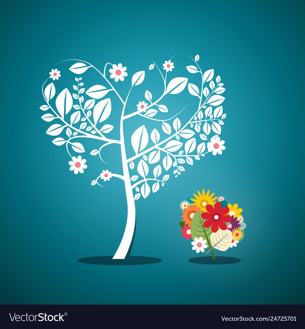 Tree with flowers on blue background flat design