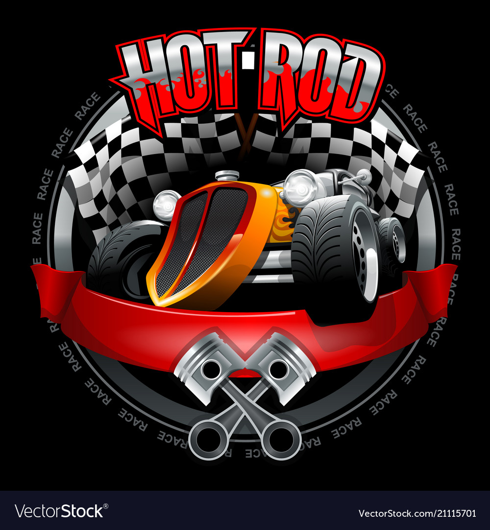 Vintage hot rod logo for printing on t-shirts or