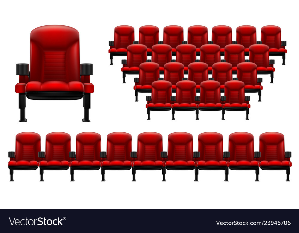 A set of theater seats separately red chair and