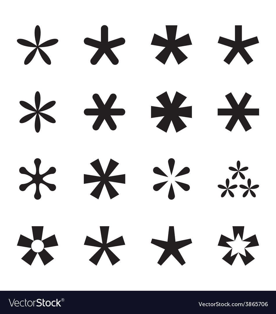 Asterisk Footnote Star Icon Set Royalty Free Vector Image-3485