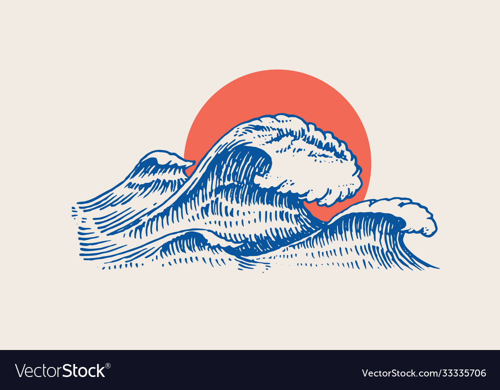 Atlantic tidal waves and red sun vintage old