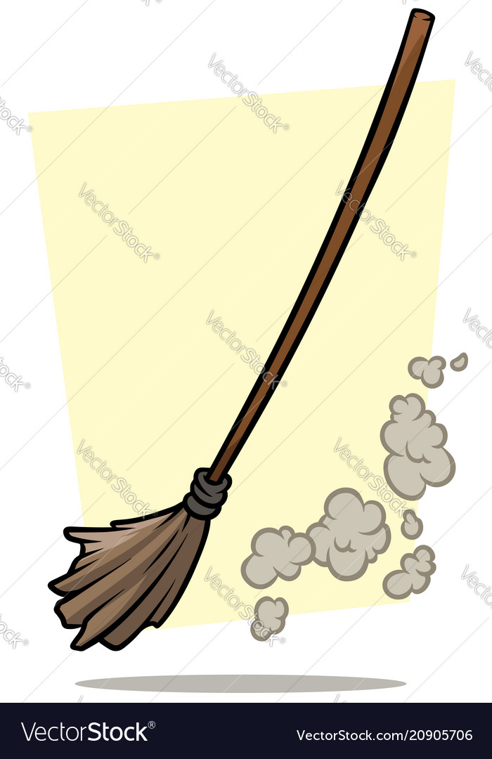 Cartoon broom cleaner and dust icon