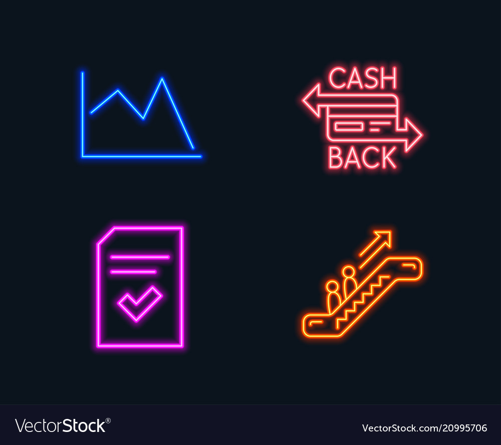 Checked file cashback card and line chart icons
