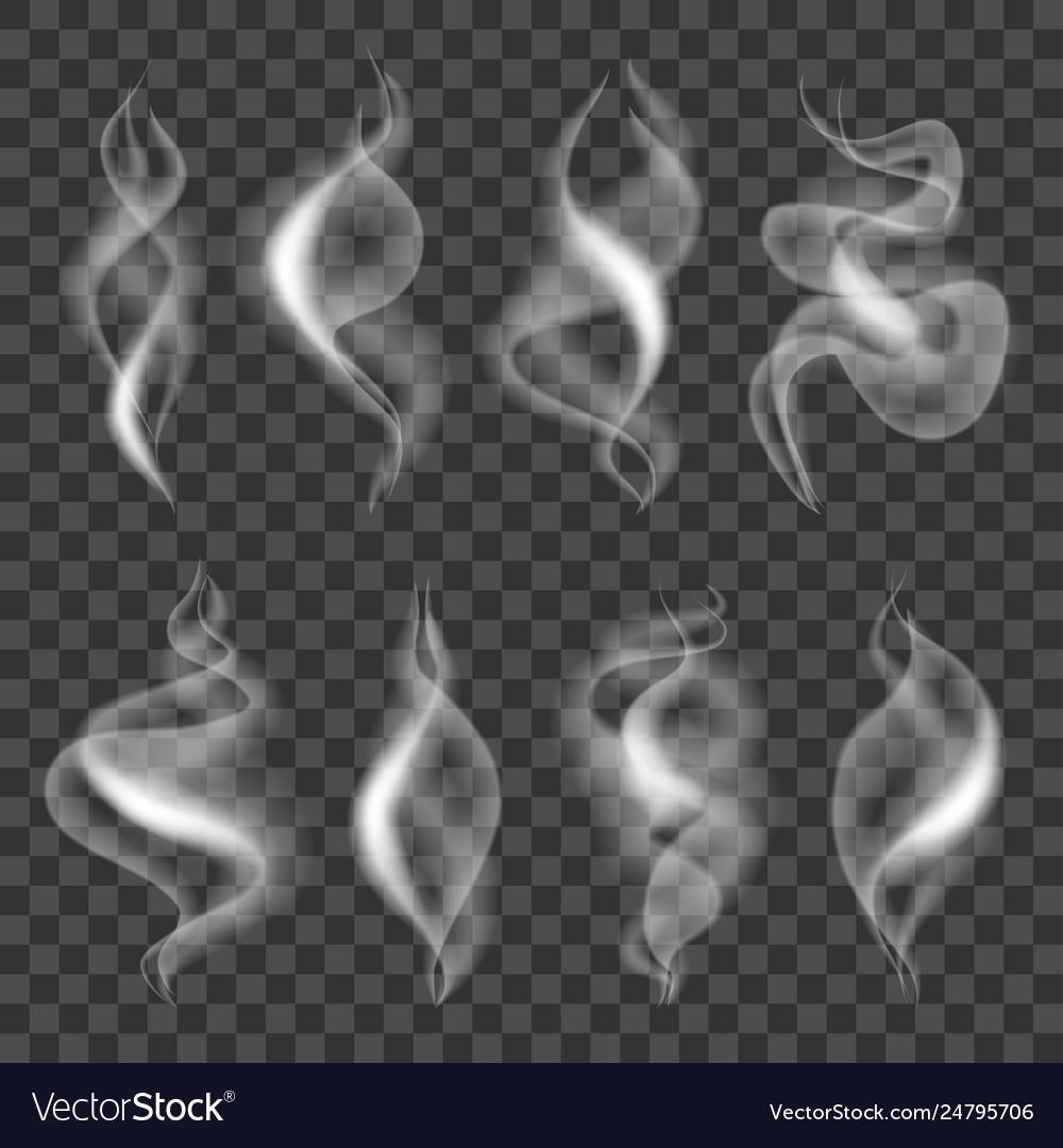 Cigarette smokes icons photo realistic set