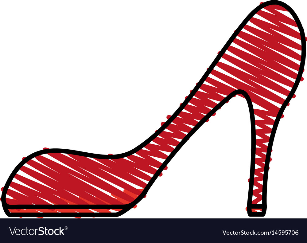 2e6e6189c0 Color crayon stripe cartoon red high heels shoes Vector Image